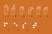 Frohes Fest als Grafik in Brailleschrift und Fingeralphabet