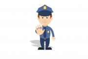 """Illustrative Grafik eines männlichen Polizisten mit """"Stop-Hand"""""""