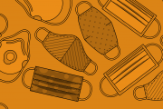 Masken-Illustration in orange/schwarzer Farbe